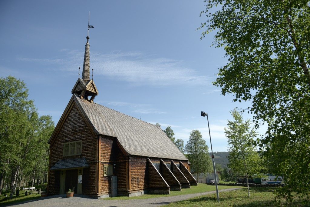Ammarnäs Church where the films were screened. Photo KA.